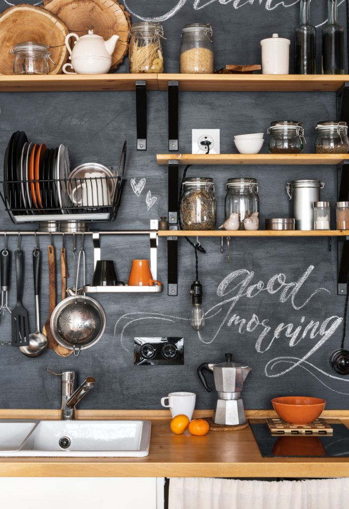 Chalkboard Wall and Shelves