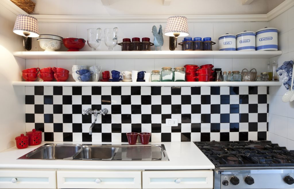 Checkered Kitchen with Shelves