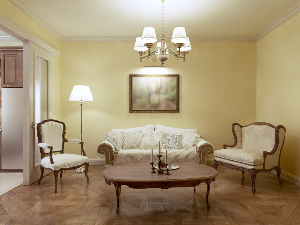 Classic Living Room Decor with Traditional French Couch Chair and Settee