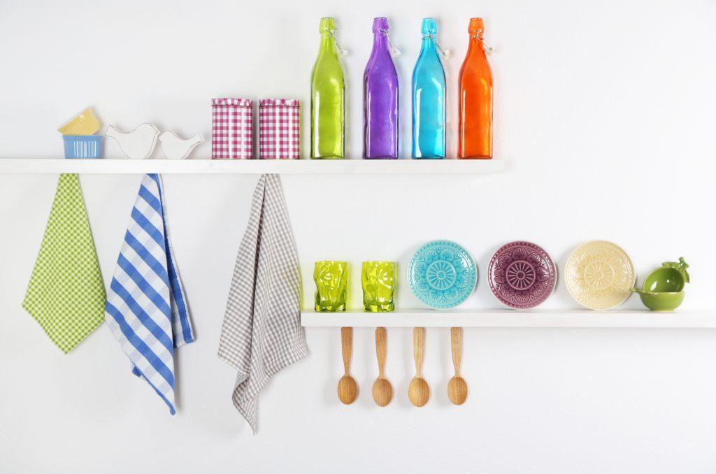 Colorful Kitchen Shelves