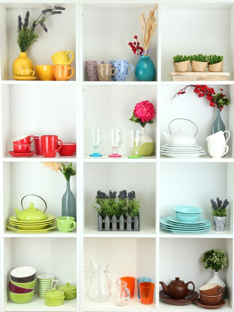 Colorful Kitchen Shelves with Tableware and Décor