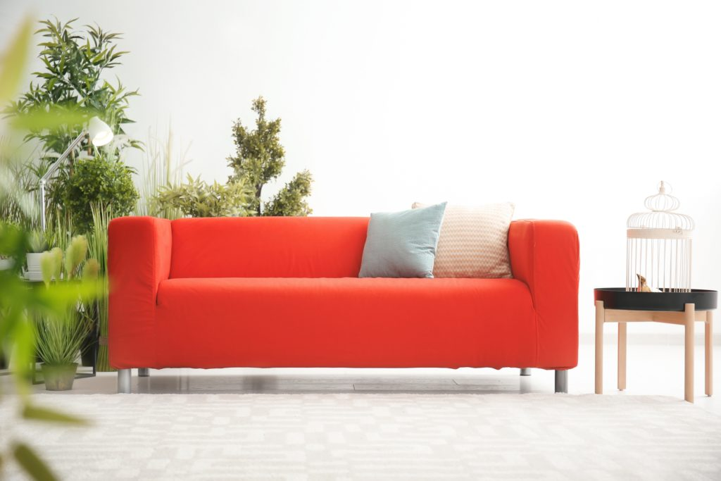 Comfortable Modern Red Couch with Plants and Decorative Pillows
