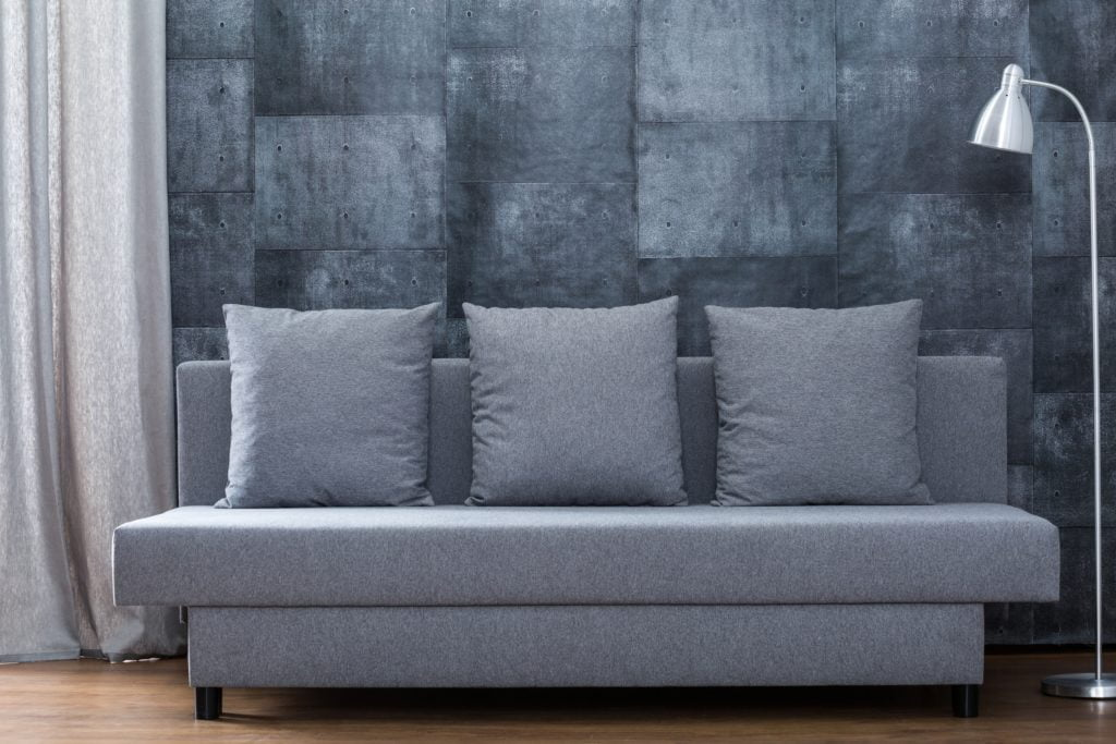 Contemporary Gray Sofa and Pillows Against a Concrete Tile Wall