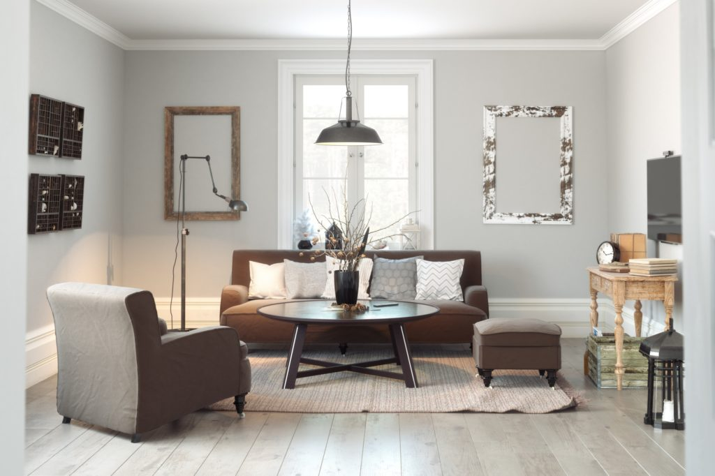 Contemporary Scandinavian Living Room with Cushioned Easy Chair