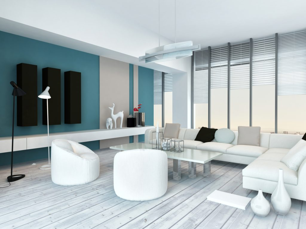 Contemporary White Living Room with Aqua Wall and White Bucket Accent Chairs