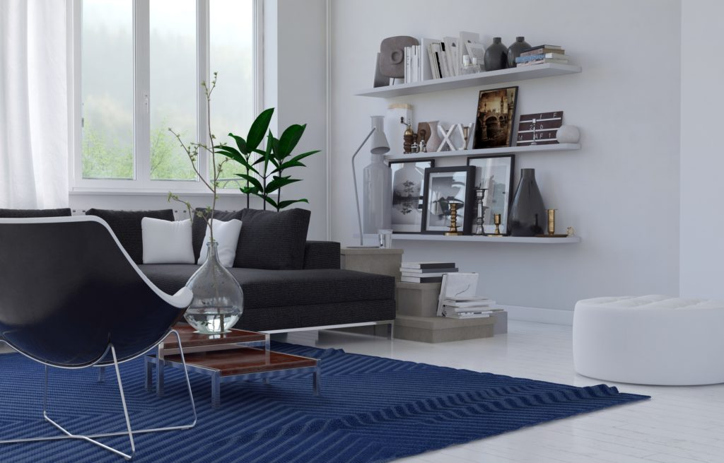 Cozy Contemporary Living Room with Streamlined Couch and Modified Diamond Chair