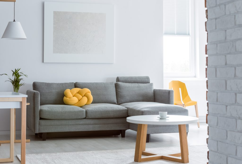 Gray Sofa with Bright Yellow Gold Creative Cushion Decor