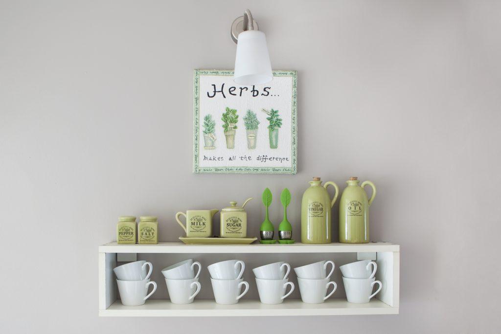 Green Items on Shelf
