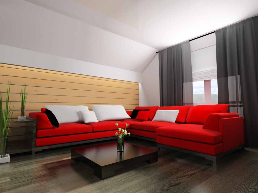 Large Corner Sectional Couch with Pillows in a Contemporary Living Room