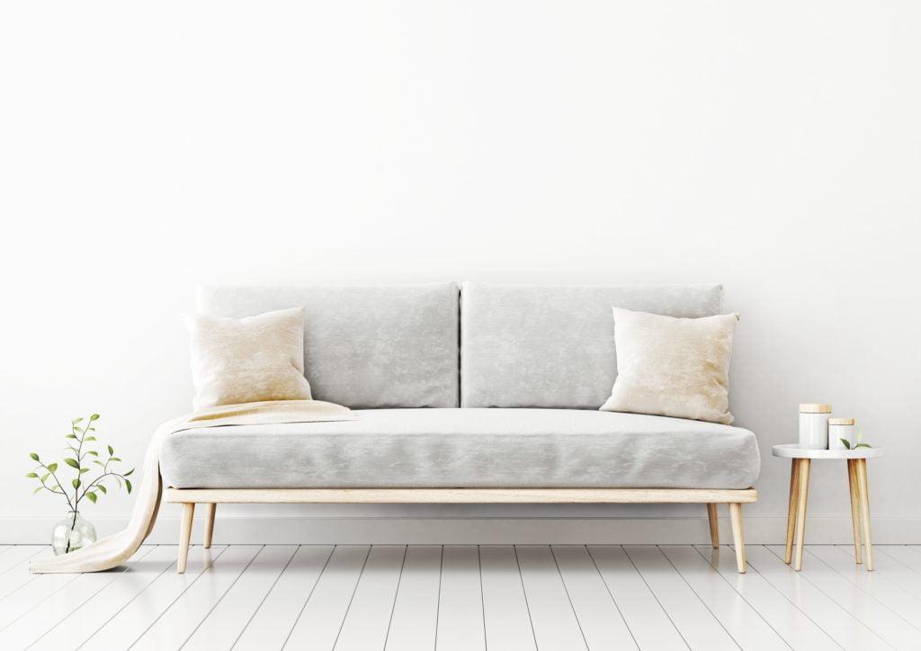 Light Gray Velvet Sofa with Soft Beige Pillows Against White Wall