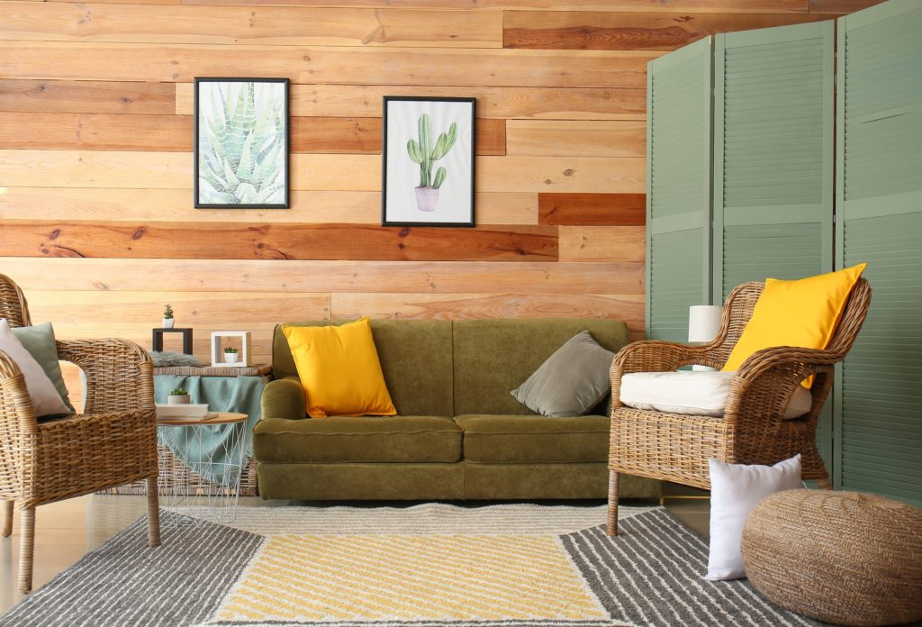 Lovely Moss Green Modern Sofa Appears Shabby Chic with a Large Fabric Bright Yellow Pillow Additional Soft Gray Pillow