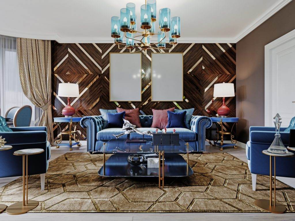 Luxurious Living Room with Blue Velvet Furniture and Decorative Gold Accents