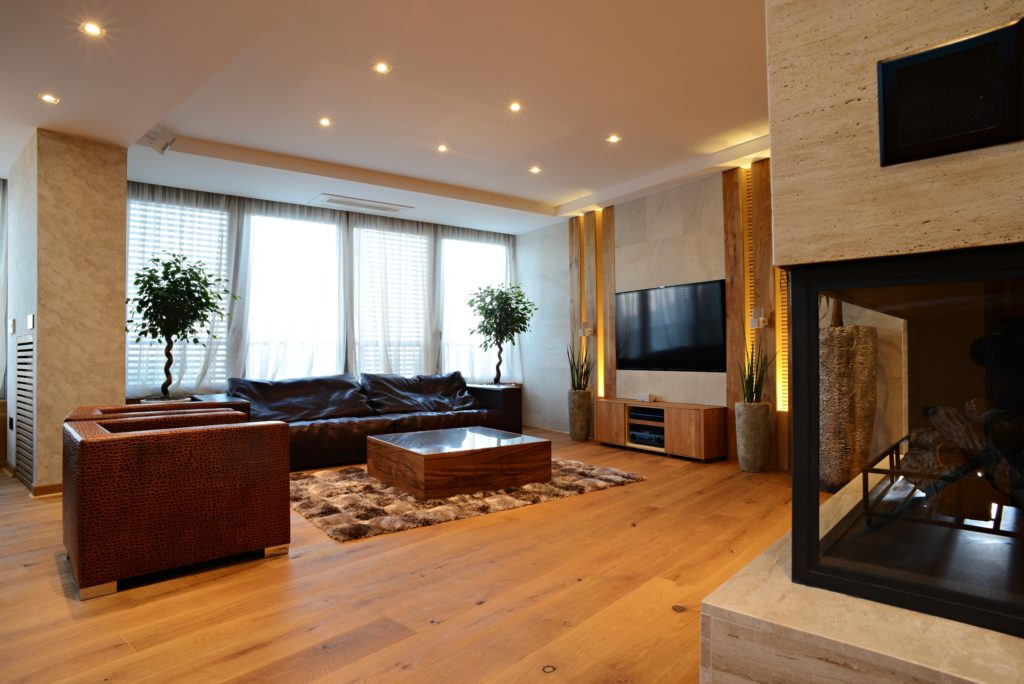 Luxury TV and Fireplace