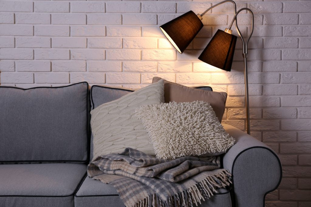 Modern Boho Style Living Room with Gray Couch and Beige Pillows