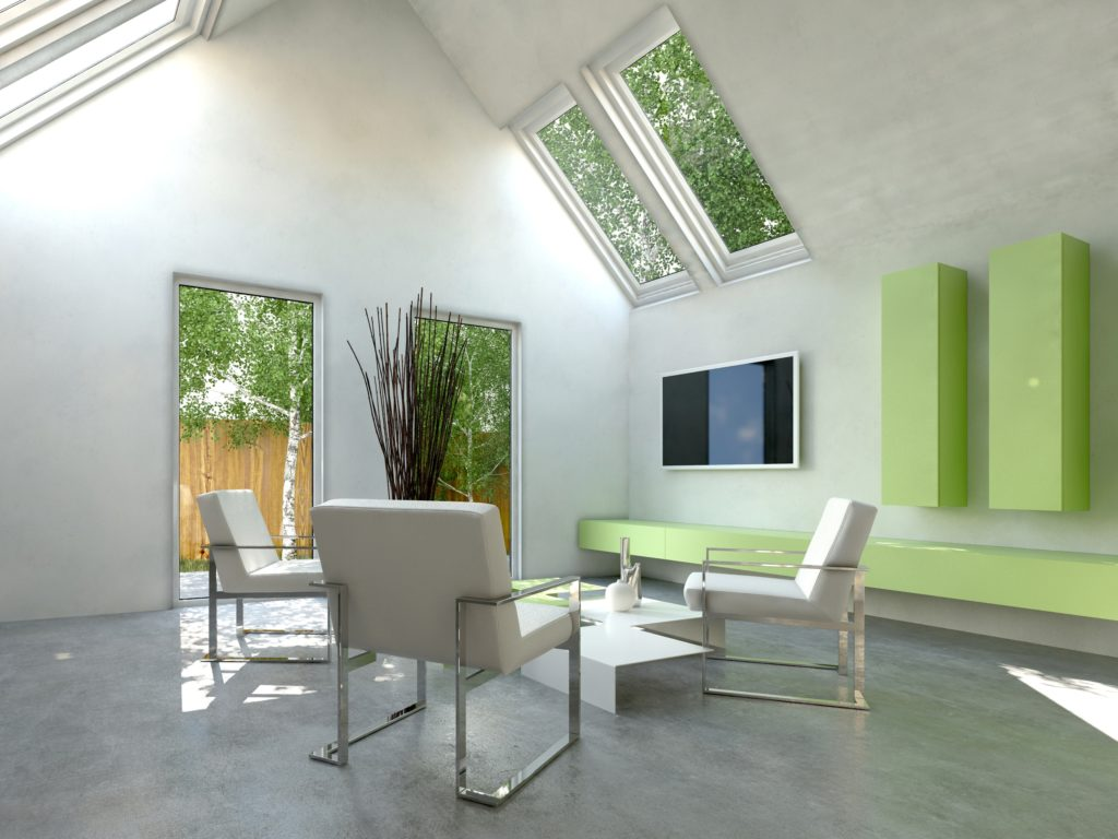 Modern Cottage Living Room with Green Bench and Cushioned Metal Framed Chairs