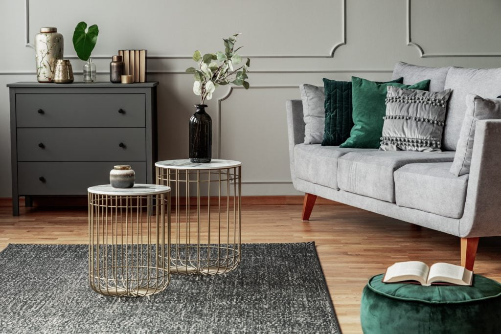 Modern Living Room with Gray Couch and Elegant Pillow Display