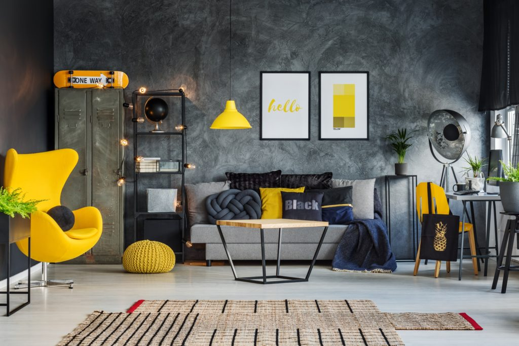 Neutral Grey Living Room Interior with Vibrant Yellow Accent Chair