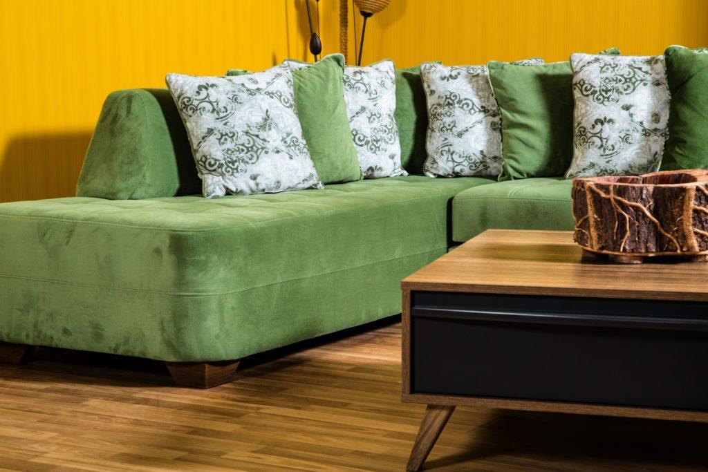 Retro Avocado-Green Sofa of Luxurious Suede Features Alternating Same-Shade & Green/White Print Pillow Collection