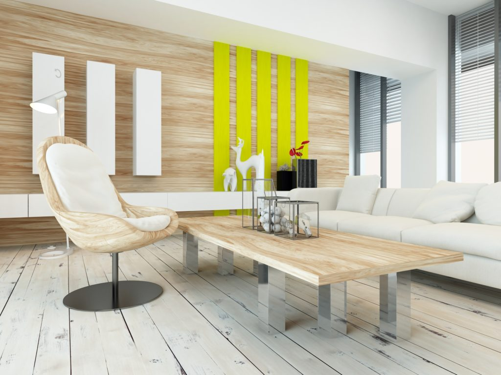 Simplistic Living Room with Wood Veneer Wall and Handcrafted Accent Chair