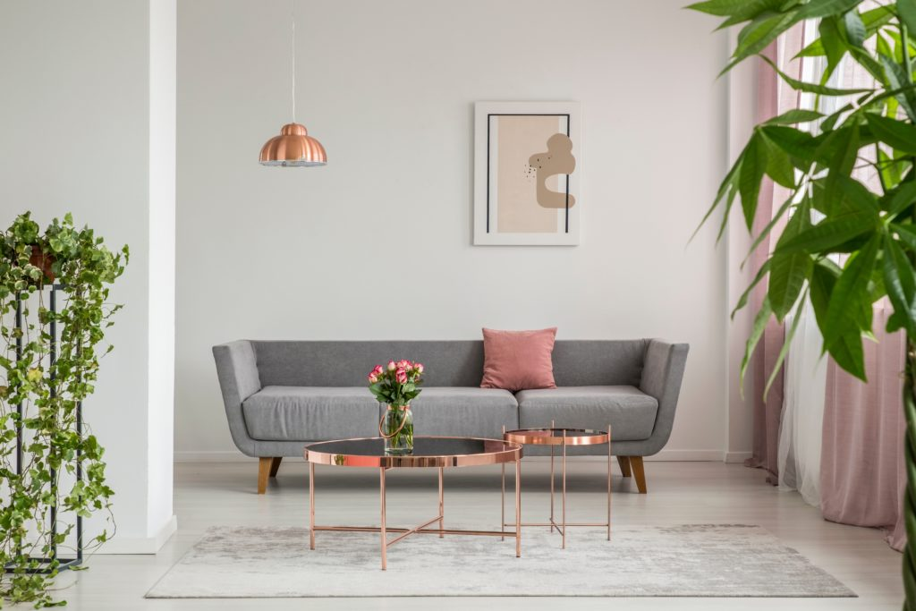 Sleek Modern Gray Sofa with Rose Colored Pillow and Elegant Decor