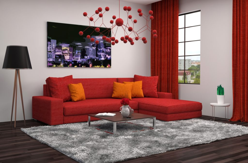 Sophisticated Modern Interior with Red Sectional Couch and Drapes
