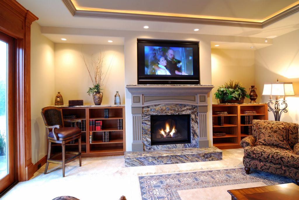 TV Above Fireplace and Bookcases