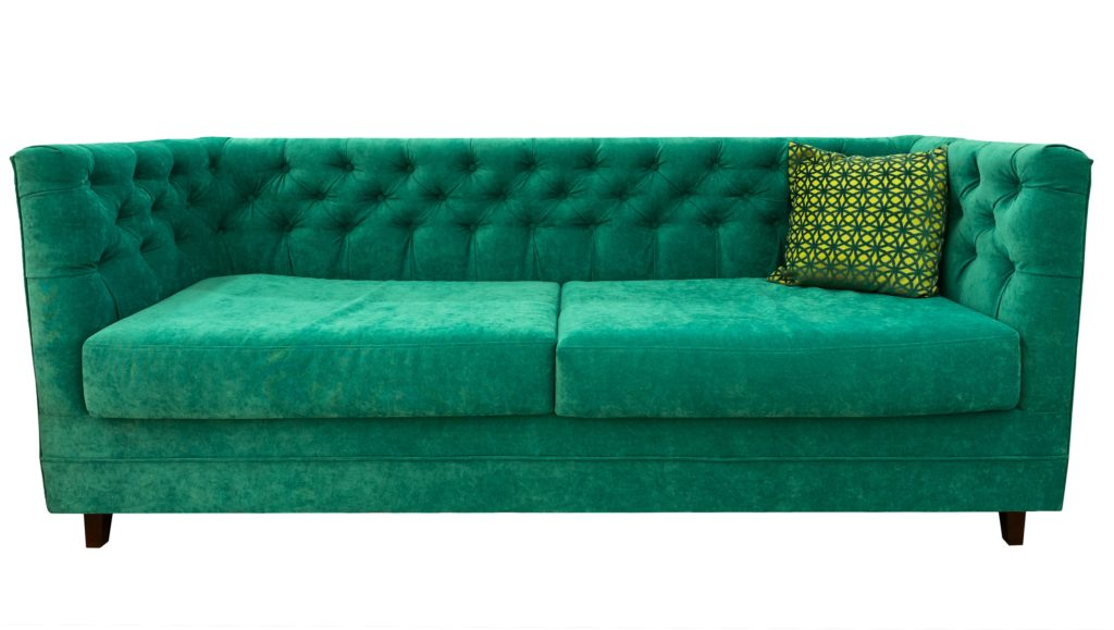 Ultra Soft Velvet Emerald Green Couch with Lime Green Pillow Offers an Upscale Sophistication