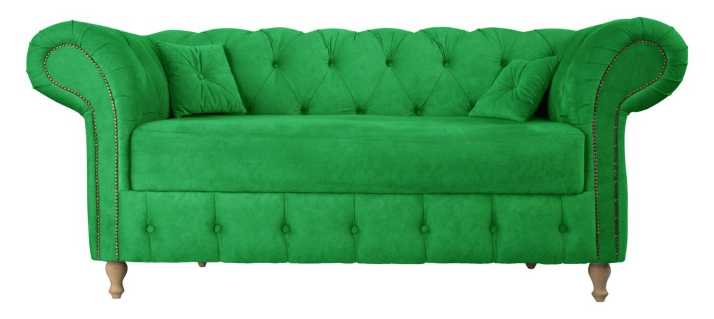 Vibrant Forest Green Sofa in Lush Suede Oozes Style in Tufting Details That Repeat on Same Shade Pillows