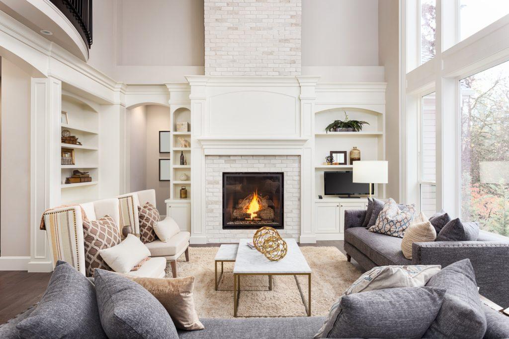 White Fireplace TV Living Room