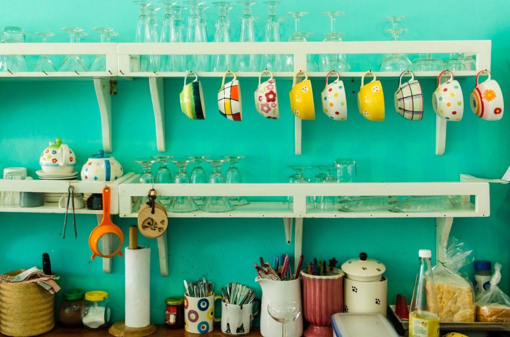White Vintage Kitchen Shelves