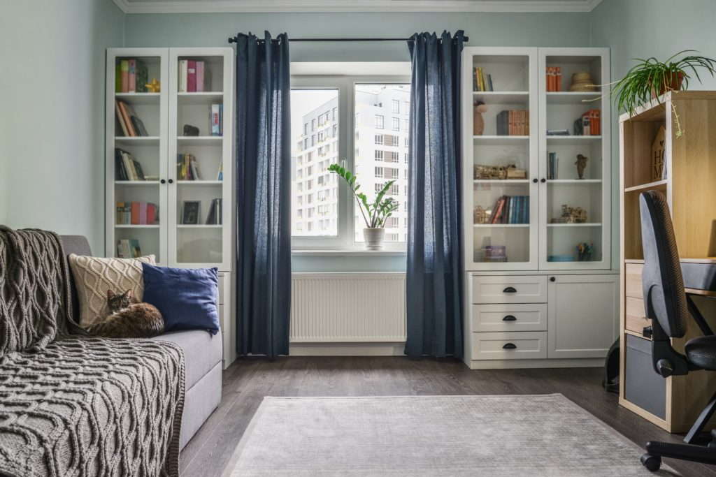 Blue Curtains with Bookcases