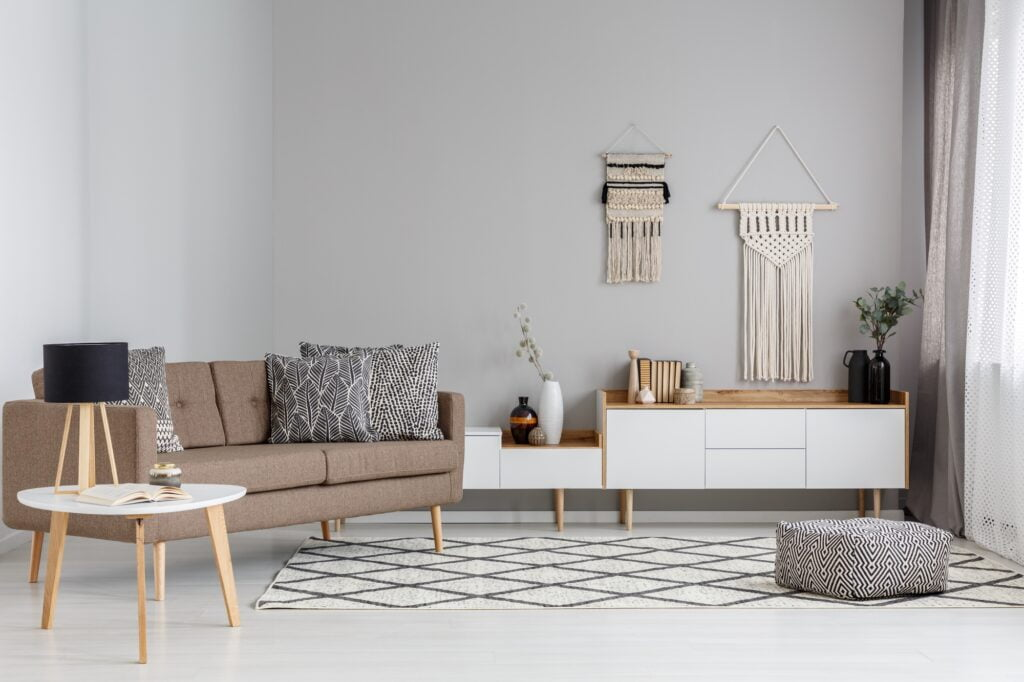Brown Sofa in Contemporary Family Room with Diamond Patterned Rug