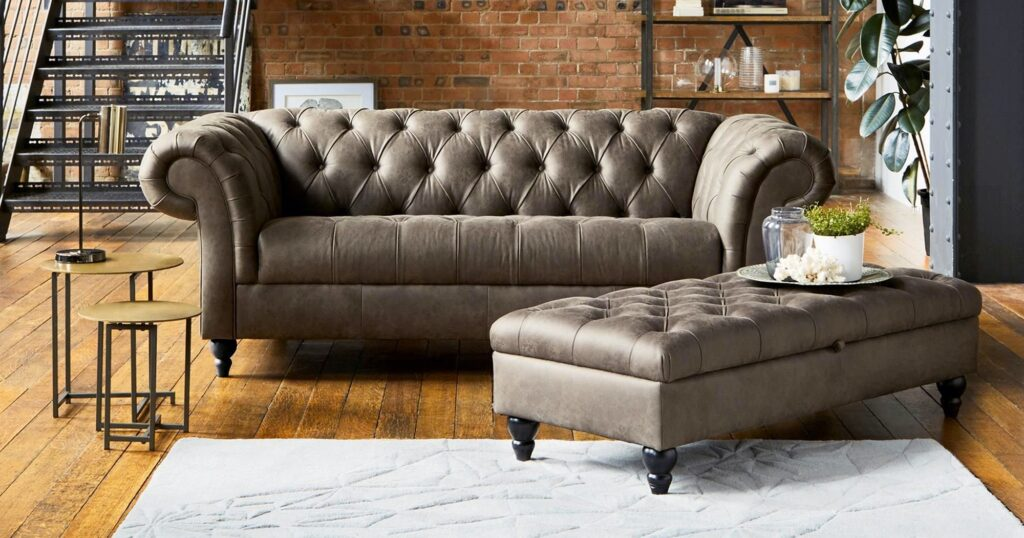 Contemporary Brown Tufted Sofa with Light Silver Grey Rug