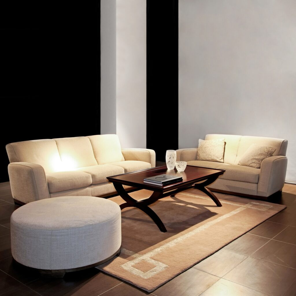 Contemporary Living Room with Stylish Beige Sofa and Love Seat