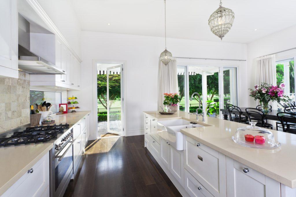 Dark Hardwood Floor Kitchen