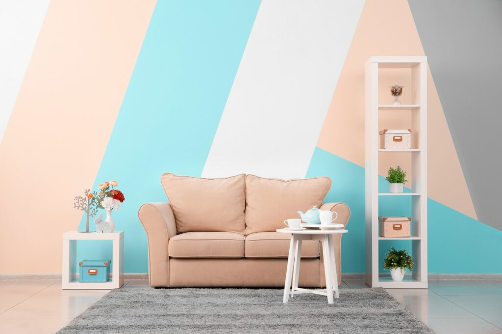 Deep beige Sofa in Bright and Colorful Boho Style Den