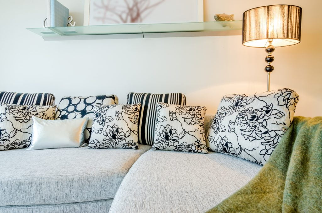 Floral Pillows on Grey Couch