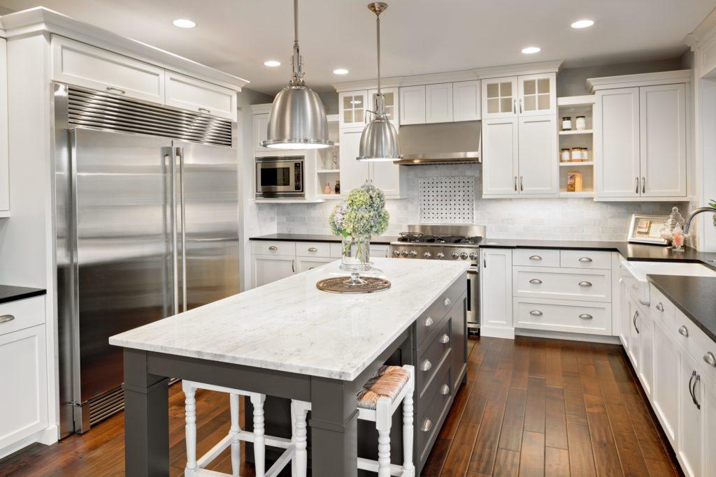 Gray Island Kitchen