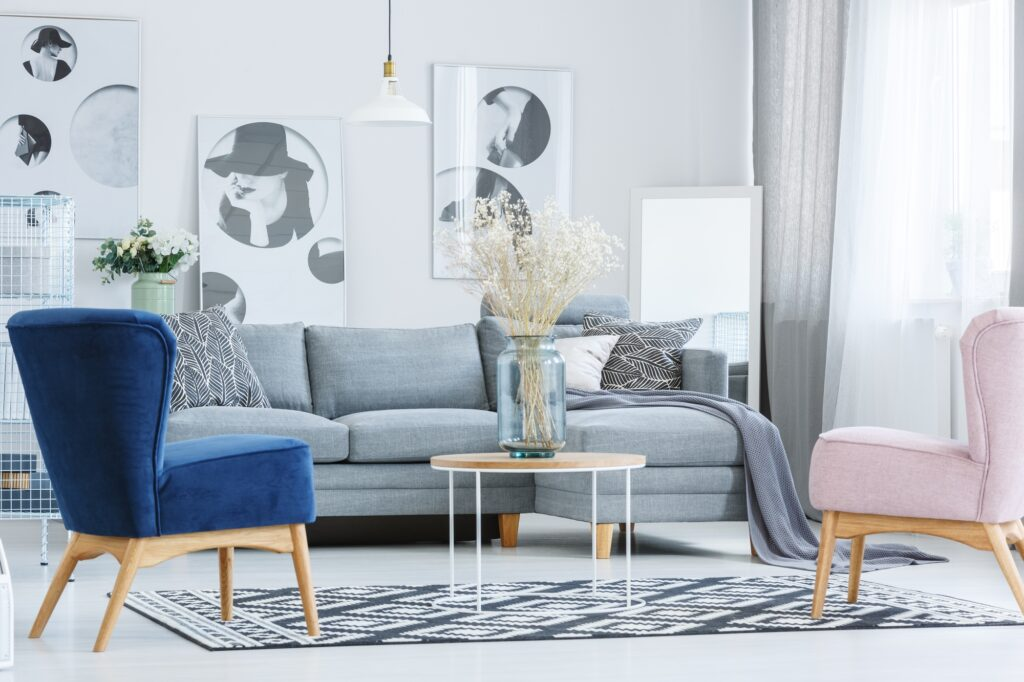 Gray Sofa with Decorative Pillows and Colorful Designer Parlor Chairs