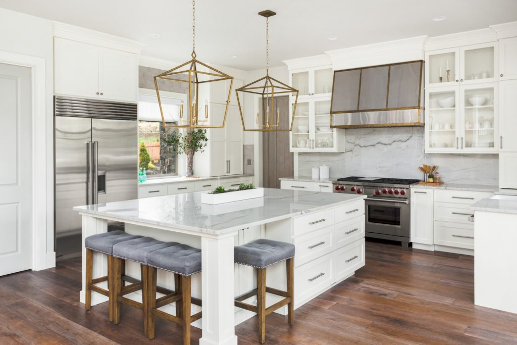 Kitchen with Gray Stools