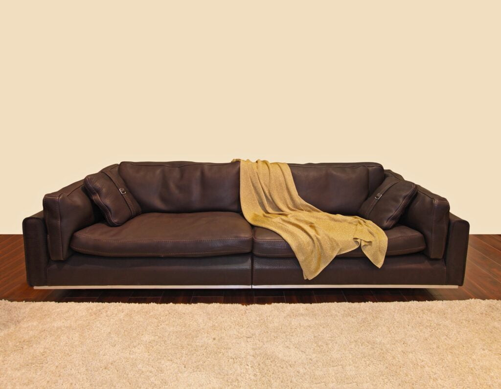 Large Dark Brown Leather Sofa on Parquet Floor with Luxurious Rug