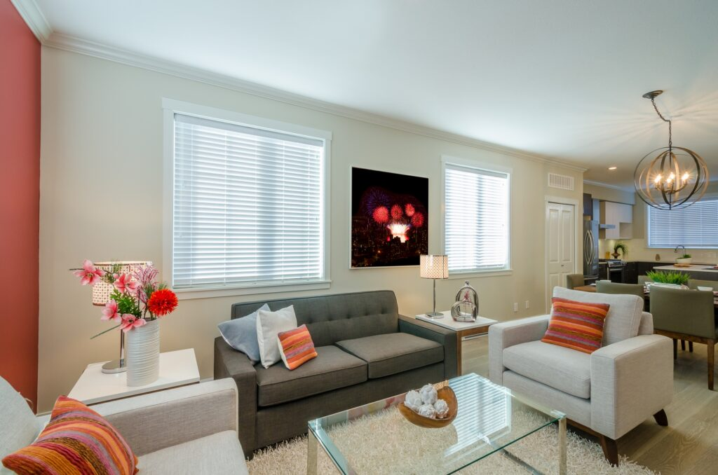 Luxury Living Room with Brown Couch and Elegant White Shag Rug