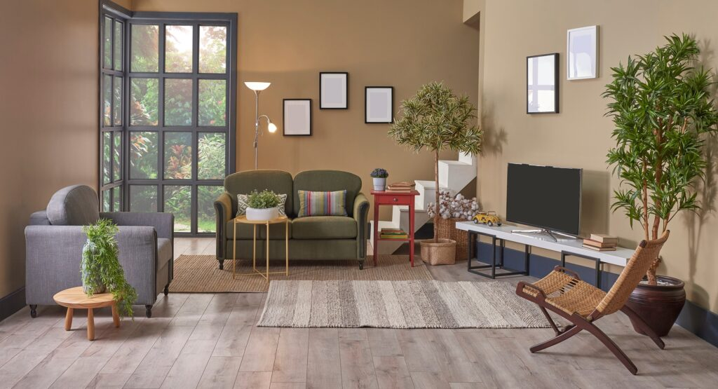 Modern Living Room Interior with Brown Couch and Multi Colored Rug