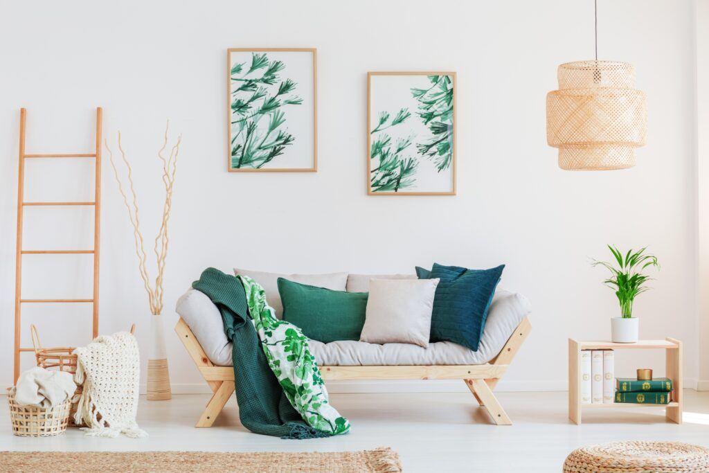 Neutral Living Room Interior with Bright Green Pillows and Accessories