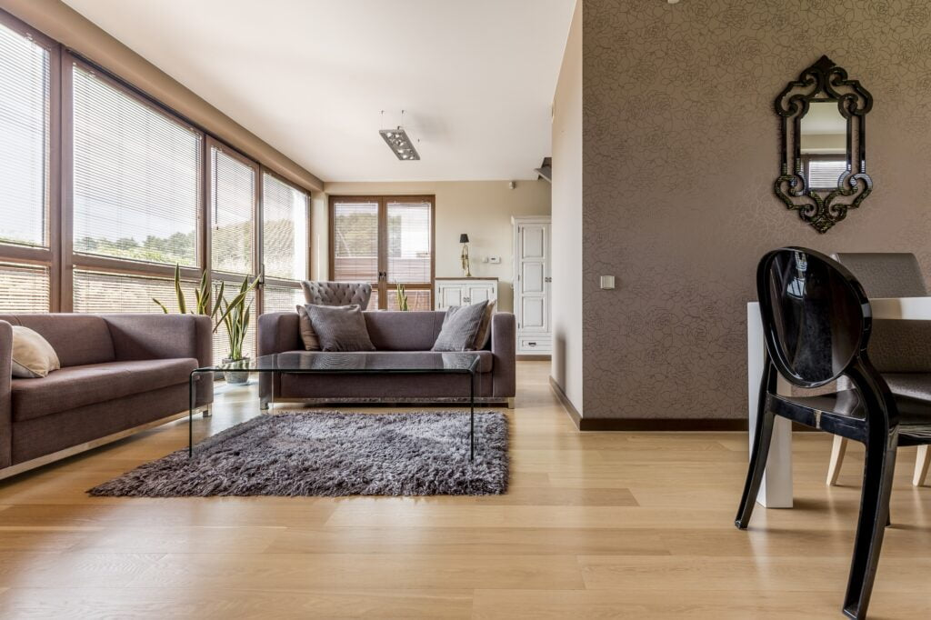 Open Plan Living Room with Brown Sofa Grey Sofa and Artistic Rug