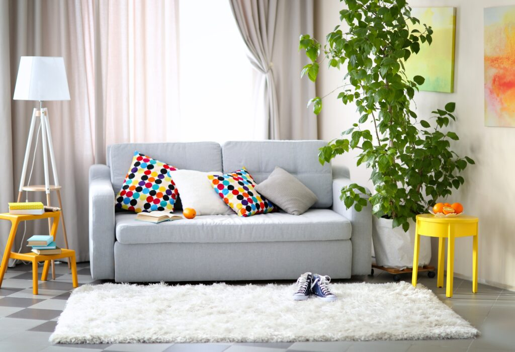 Retro Living Room Interior with Light Gray Sofa and White Shag Rug