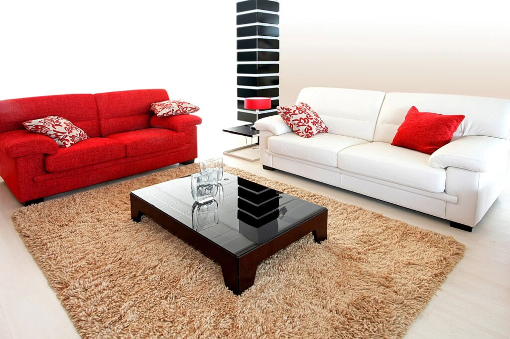 Asian Style Living Room with Bright Red and Soft White Sofas