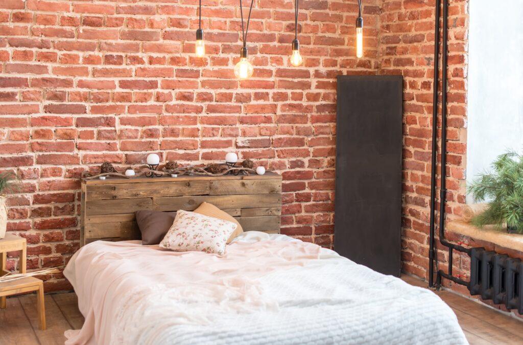 Brick and Brown Wood Rustic Boho Bedroom Interior