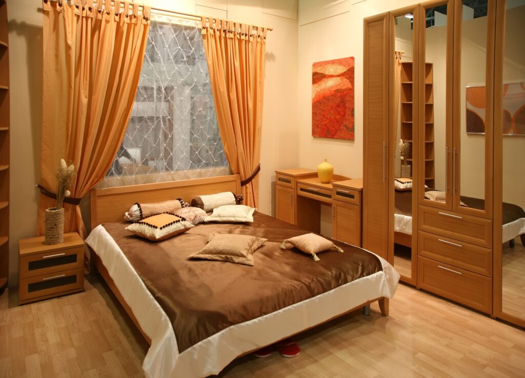 Bright Brown Modern Bedroom with Low Minimalist Bed