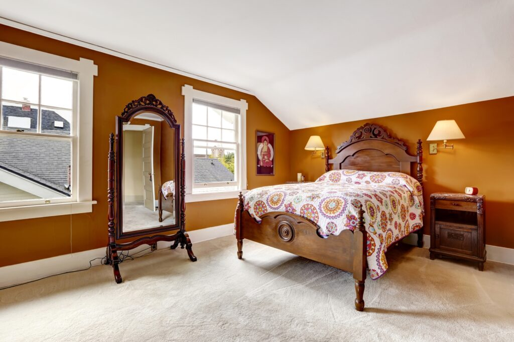 Brown Themed Bedroom with Vintage Carved Bed